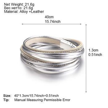 ALLYES Multilayer Leather Bracelets for Women Femme 6 Colors Magnet Clasp Crystal Bohemian Double Wrap Bracelet Jewelry 5