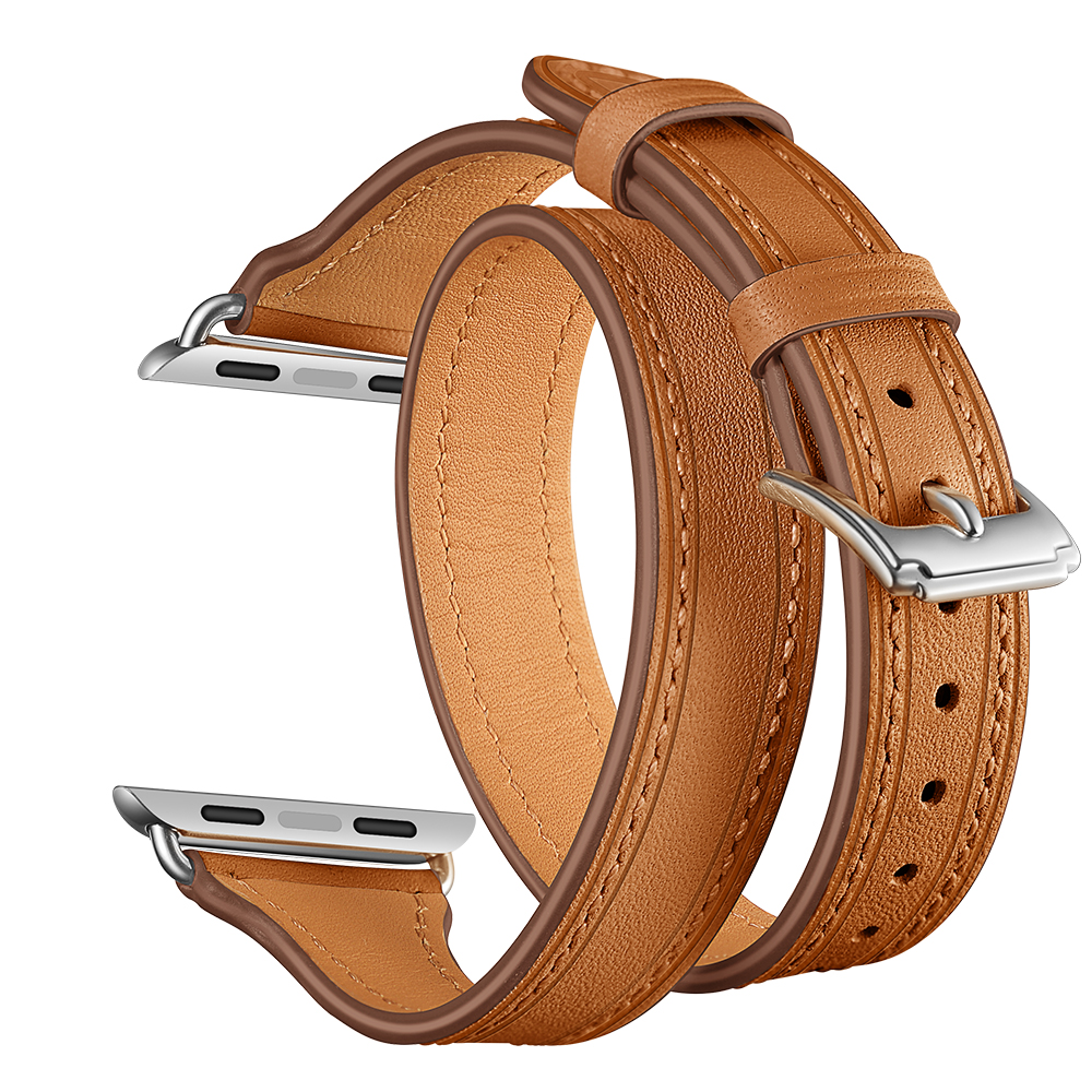 EIMO Genuine Leather Loop Double Tour Strap For Apple Watch 4 Iwatch Band 42mm 38mm Series 4 3 2 1 Wristband Bracelet Watchband fohuas extra long genuine leather band double tour bracelet leather strap watchband for apple watch series 2 38mm amd 42mm woman