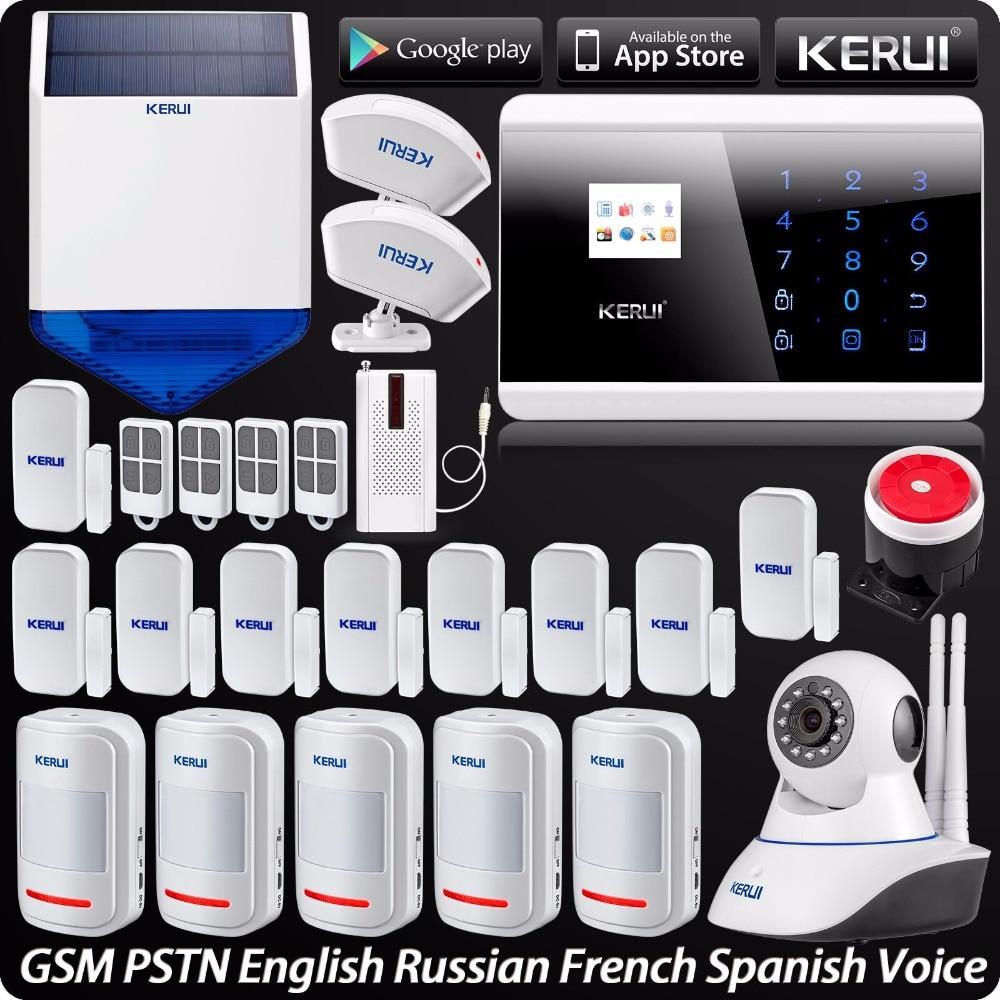 Alarme Maison sans fil Système de Sécurité Android Contrôle D'APPLI D'IOS 720 p HD IP Caméra Sans Fil Sirène Solaire Alarma Rideau PIR détecteur