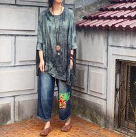 2016 Female New Autumn Water Wash Splash Ink Handmade Plate Buttons Dress Loose Shirt