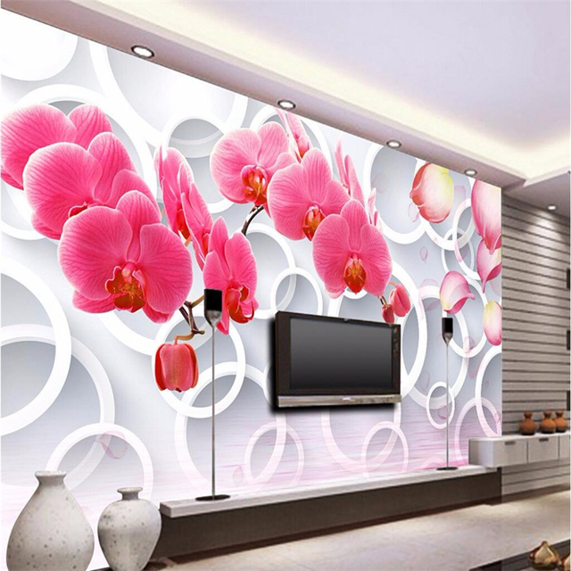 beibehang 3d wallpaper decorative photo Paradise pink Phalaenopsis ...