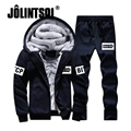 Jolintsai Fleece Sportwear Men Winter Jacket Men+Sweatpants 2PCS Tracksuit Set 2017 Hoody Mens Hoodies&Sweatershirts Suit