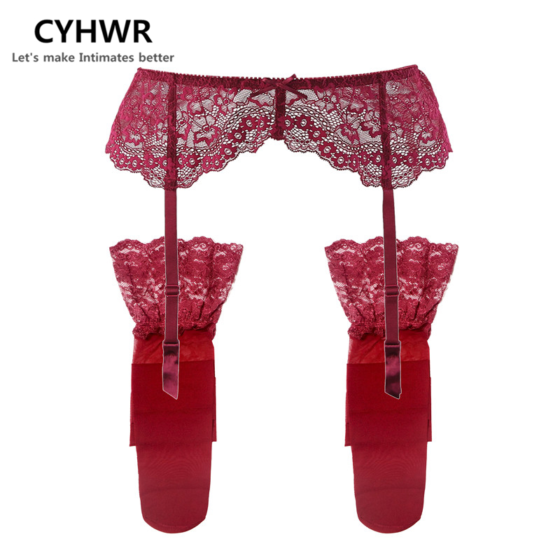 CYHWR Suspender-Belt Stockings Belts Garters Wedding Lace Sexy Black/wine Women's Fashion