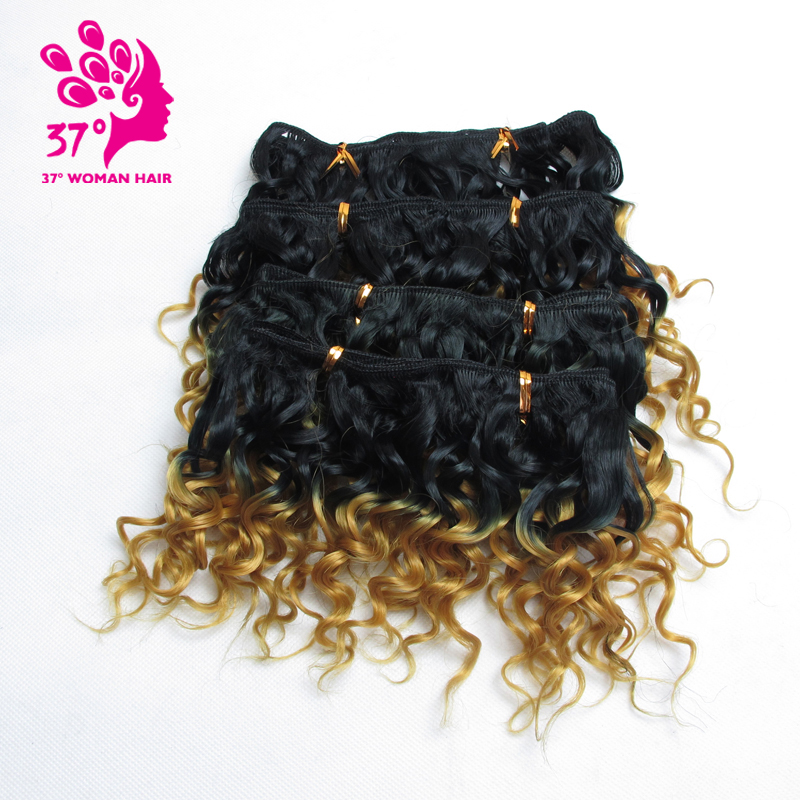 Dream Ice's 3 Lots For Full Head Tissage Naturel Synthetic Weave Hair 6inches Ombre Curly Hair 6 Colors 4pcs/lot