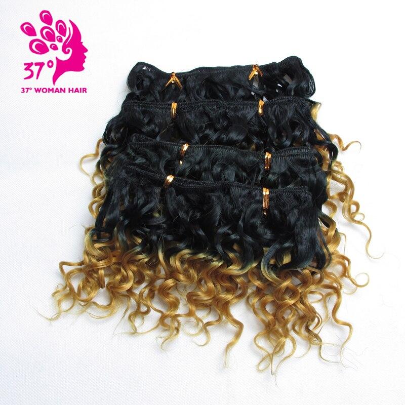 Dream ice's 3 lots pour pleine tête Tissage Naturel cheveux synthétiques 6 pouces Ombre cheveux bouclés 6 couleurs 4 pcs/lot