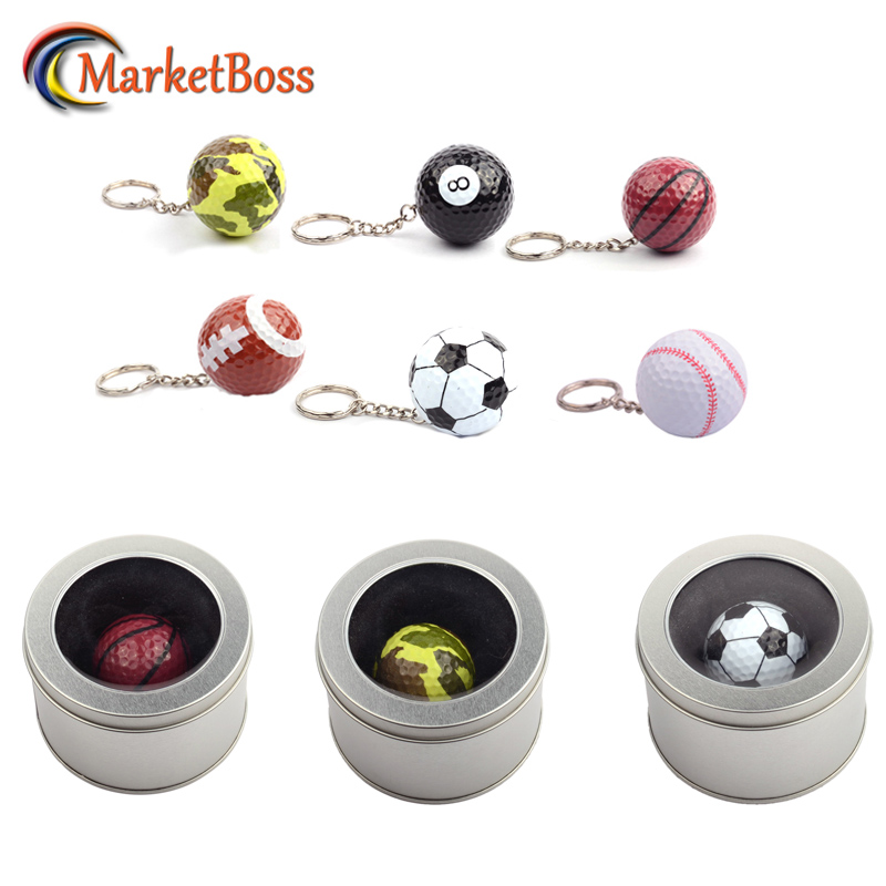 Unisex Mini Sport Balls Keychains With Fancy Box Golf Ball Baseball Keyring Great Gift Metal Key Chains