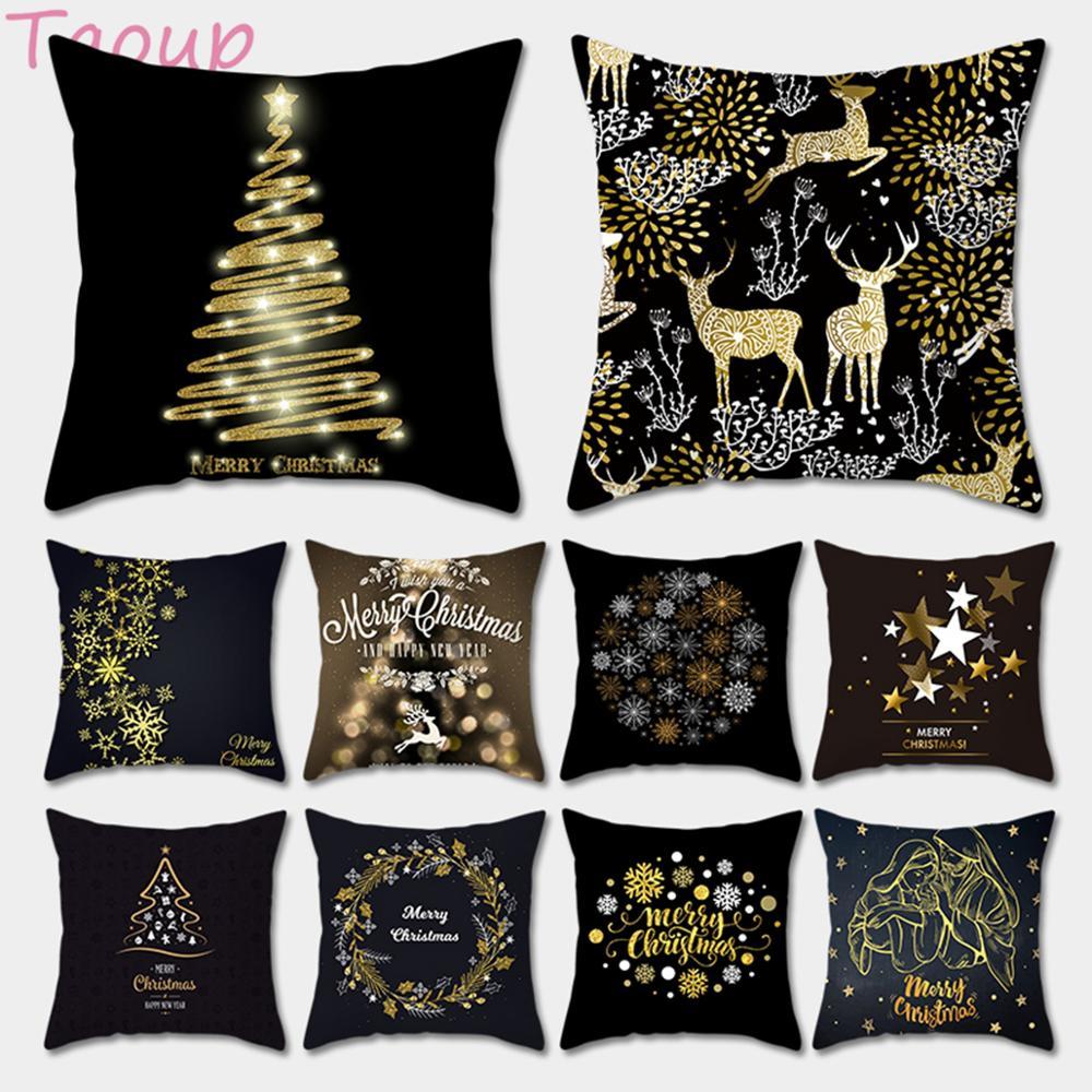 Taoup Gold Black Snowflake Merry Christmas Pillowcase Xmas Decor For Home Decor For Christmas Ornaments Xmas Noel Santa Claus