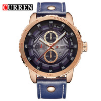 CURREN Brand Men's Watches Men Sports Watch Leather Strap Big Dial Analog Army Military Watches Quartz Clock Relogio Masculino