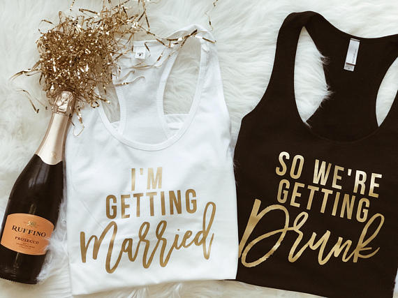 Detail Feedback Questions about customize gold Bride Bridesmaid t shirts  singlets Bachelorette bridal vests party tanks tops gifts party favors on  ... 3de2467be935