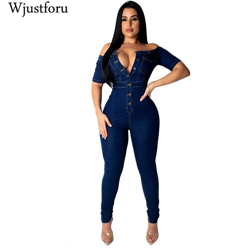 Wjustforu Sexy Skinny Denim   Jumpsuit   Women Slash Neck Fashion Bodycon Jeans   Jumpsuit   Female Short Sleeve Zipper Elegant Bodysuit