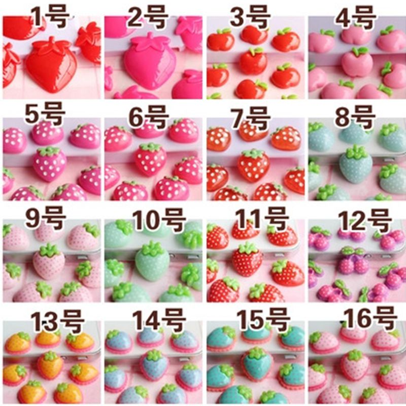 24pcs/lot Lovely red pink strawberry resin wholesale/retail multicolor optional resin flower for jewelry decoration! 009005029