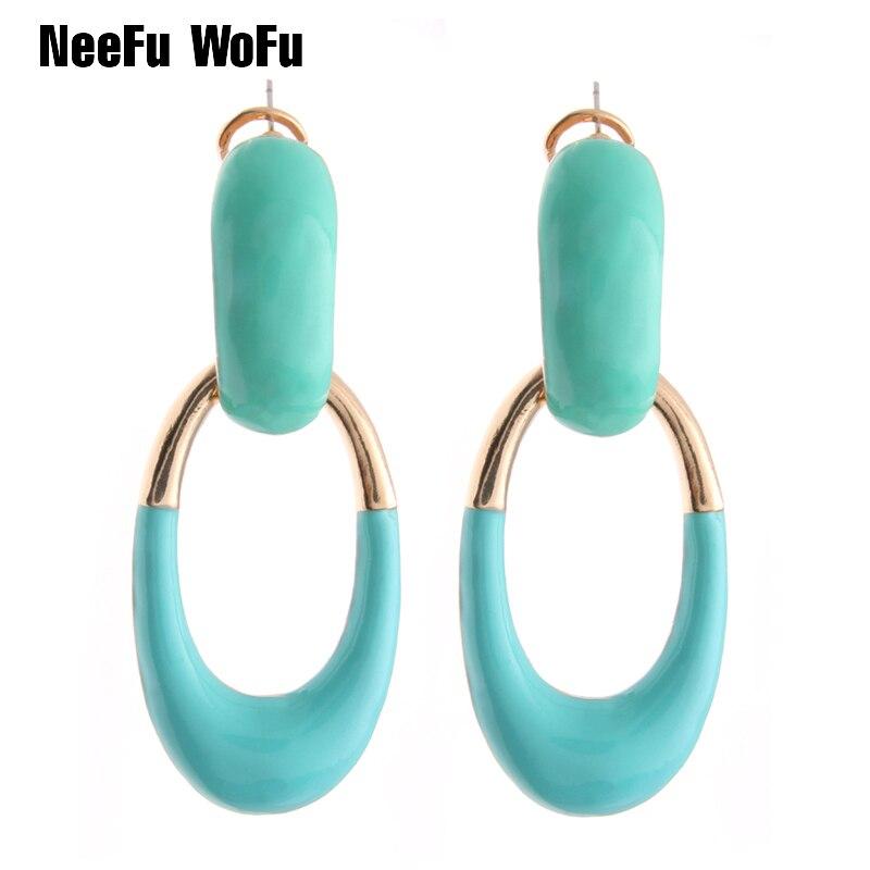 NeeFu WoFu Drop Long Earrings Zine Alloy Dripping Brand Crystal Big Earring Large Long Brinco Ear Accessories Oorbellen Gift