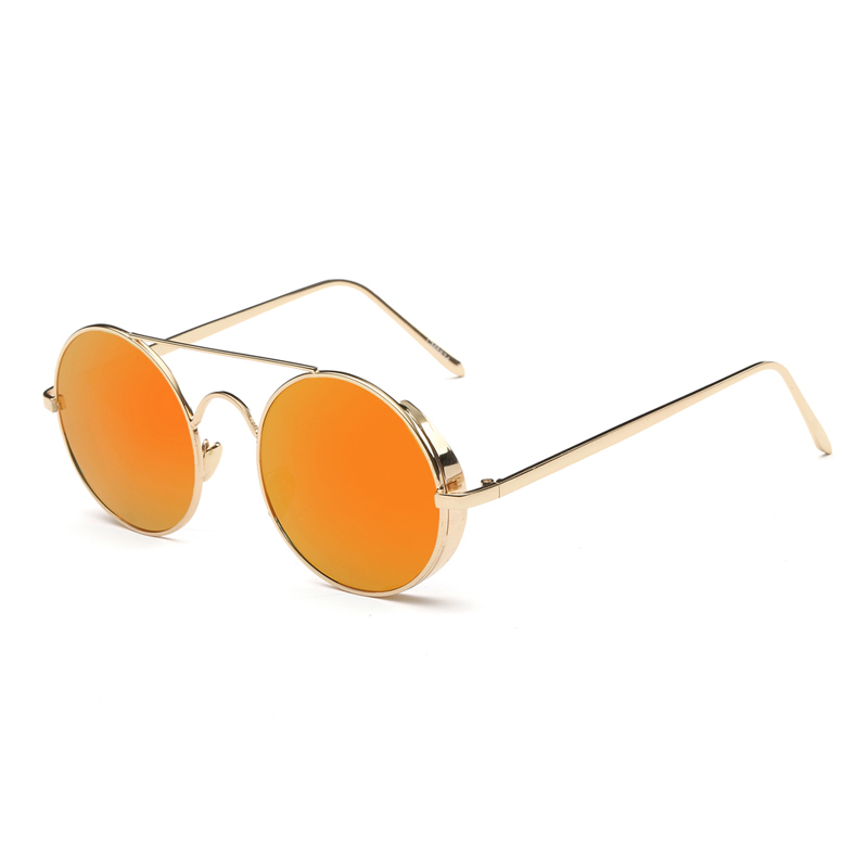 Steampunk Round Sunglasses Women Steam Punk Circle Men Female Brand Metal Mirror Lenses Sun Glasses For Women Male Retro De Sol