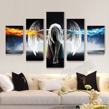5 Panel Angeles Girls Anime Demons Movie Poster Oil Painting Canvas Wall Art For Living Room Print On Canvas Unframed BR0050