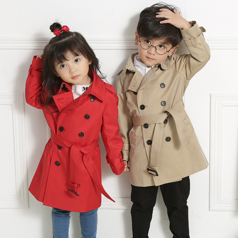 цена на Domeya Boys Winter Coat Girls Outerwear Autumn Cotton Long Double Breasted Windbreaker Brand Classic High Quality 3y-8y