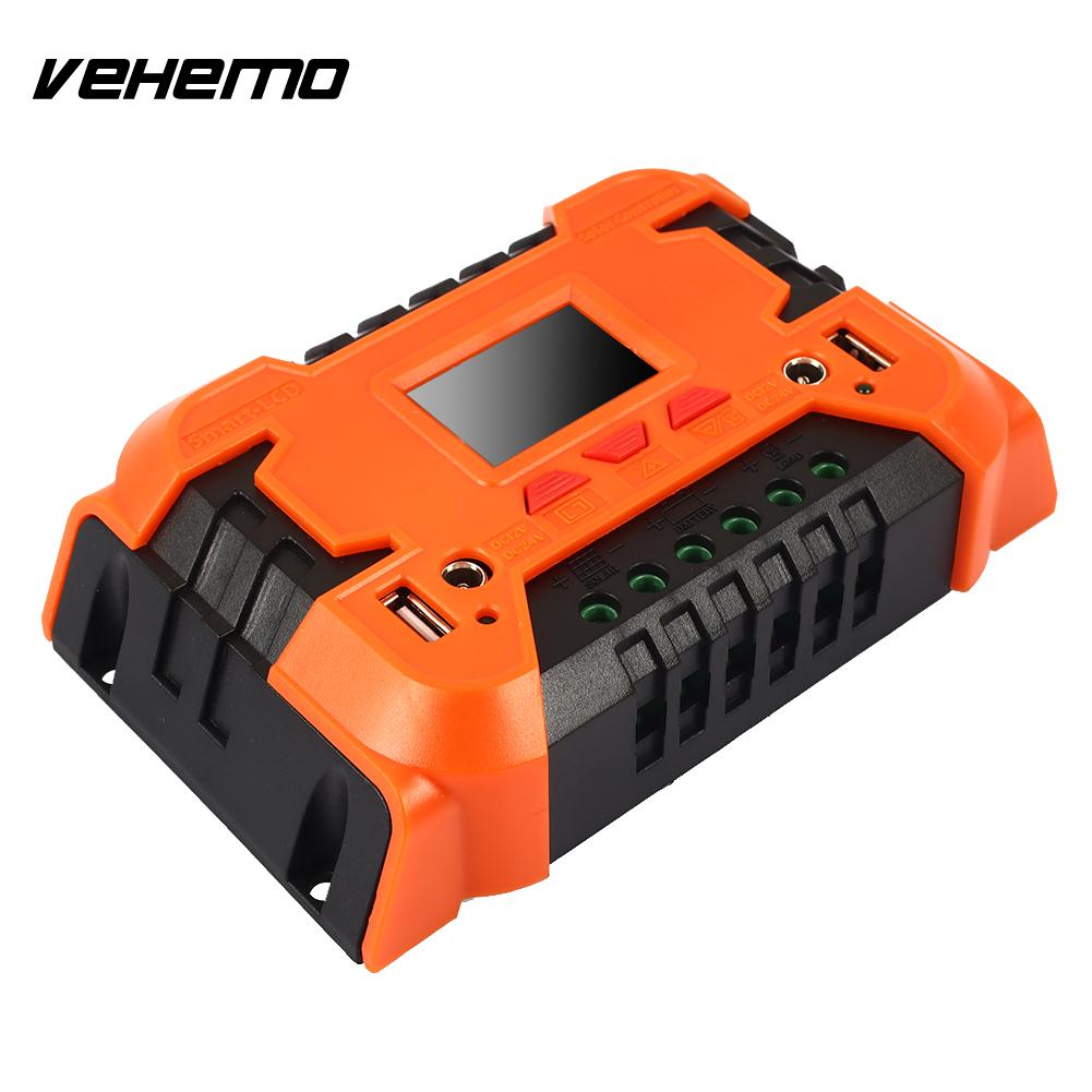 Vehemo 10A 20A for Charger PWM Solar Panel Regulator Solar Charge Controller Solar Energy Control Intelligent Adapter Power