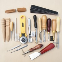 20pcs Leather Craft Punch DIY Tools Kit Set For Costura Carving Stitching Sewing