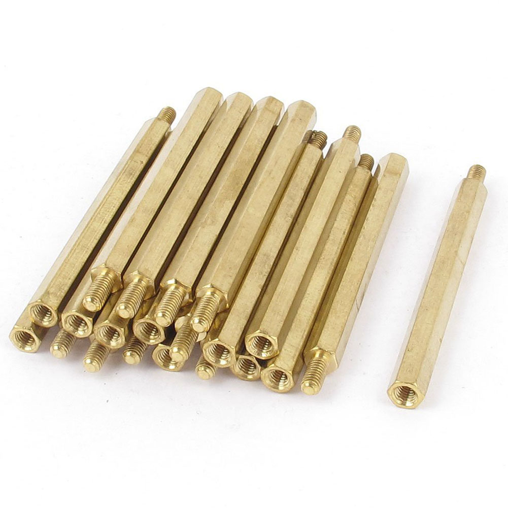 MYLB-20 Pcs M3 3mm Male Female Brass Hex Standoff PCB Spacer Pillar 50mm m2 3 3 1pcs brass standoff 3mm spacer standard male female brass standoffs metric thread column high quality 1 piece sale