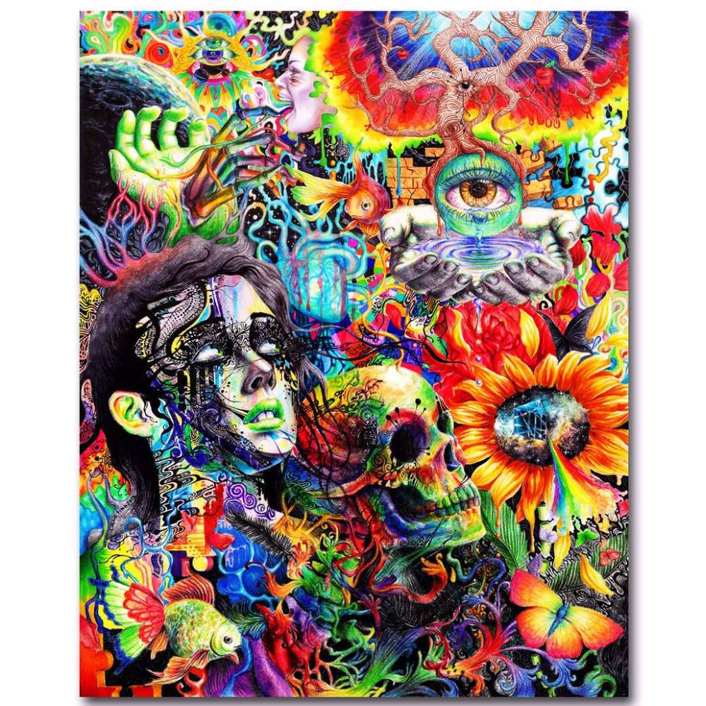 J1558 Psychedelic Trippy Flower Skull Face Pop 14x21 24x36