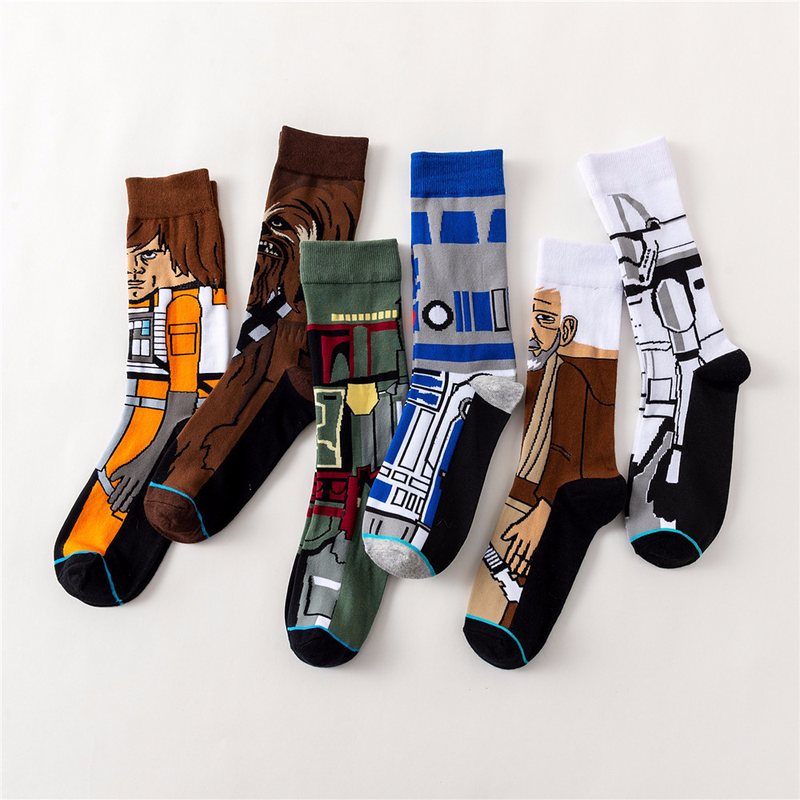 Star Wars Movie Stockings Master Yoda R2-D2 Cosplay Socks Wookiee Jedi Knight Novelty Men Women Sock Spring Autumn Winter Socks