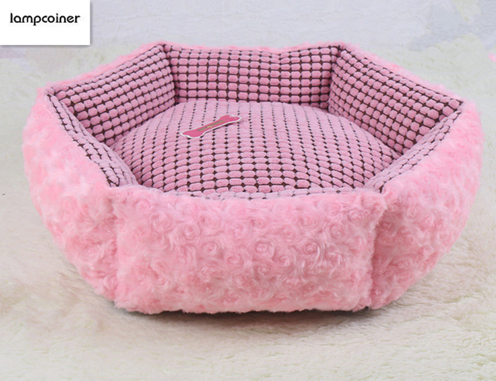 Comfortable Beautiful Sweet Rose Cashmere Style Pet Bed,Puppy Teddy Little Pet  Cat Dog Sleeping Beds Cat House Sofa