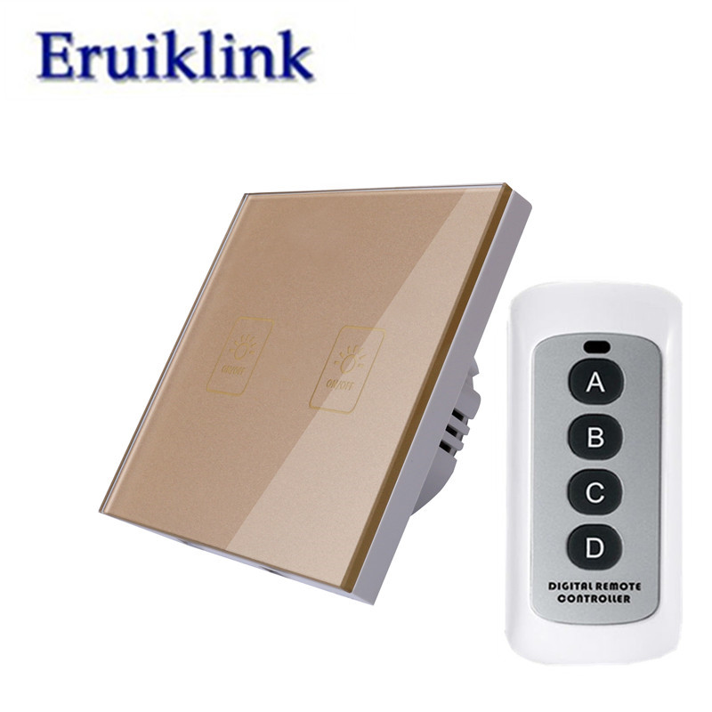 EU/UK Standard 1/2/3 Gang 1 Way Light Remote Control Switches,RF433 Remote Wall Touch Switch 220V for Smart Home+LED backlight цена 2017