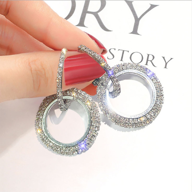 2018 creative jewelry high-grade elegant crystal earrings round Gold and silver earrings wedding party for women merry christmas 1