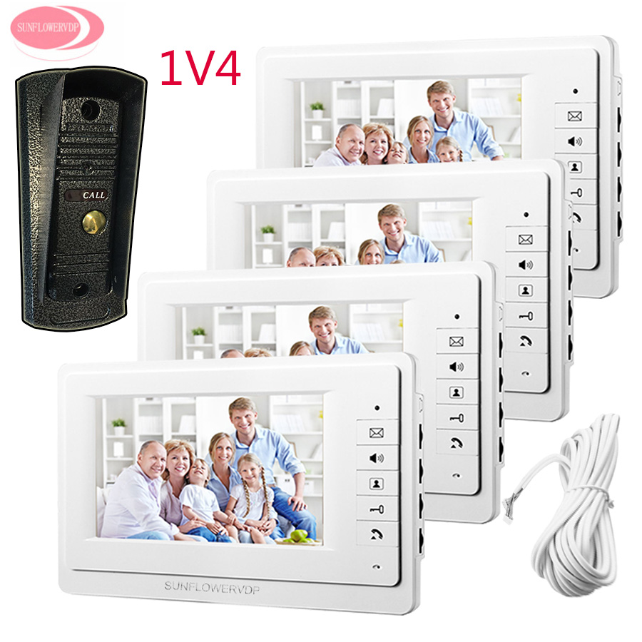 7 Inch TFT LCD Monitor Door Video Intercom For Apartments With Video Intercom 4 Monitors + 1Night Vision Metal Waterproof Camera