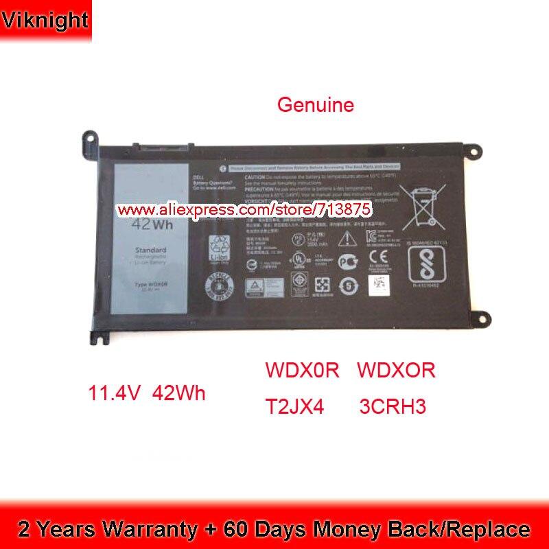 D'origine 11.4 V 42Wh T2JX4 WDX0R WDXOR Batterie pour Dell Inspiron 13 5378 13 7368 15 5538 15 5568 Ins14-7460-D1525G 15 7000
