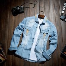 Бесплатная доставка Джинсовая Куртка мужчины Мыть Джинсовая Куртка С Длинным Рукавом Пальто Хлопка топы мужчины И Пиджаки пальто Мужчины Куртка для человека