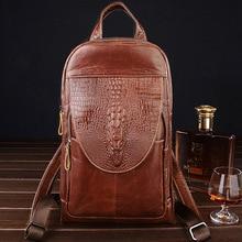 цена на Women Backpack High Quality Genuine Leather Back Pack for Men Messenger Shoulder Chest Bag pack Female Cross body Travel Mochila