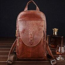 Women Backpack High Quality Genuine Leather Back Pack for Men Messenger Shoulder Chest Bag pack Female Cross body Travel Mochila недорого