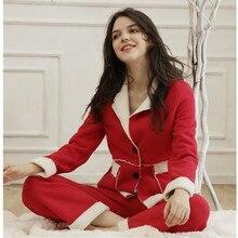 d9cde36e28d2 Womens Pajamas Sets Winter New Home Service Suit Thick Warm Lamb Cashmere  Christmas Red Lapel Pajamas