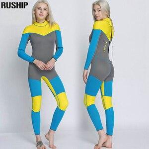 Image 5 - 새로운 3mm 품질 여성 탄성 꽉 네오프렌 잠수복 잠수복 컬러 스티칭 서핑 장비 해파리 의류 긴 소매