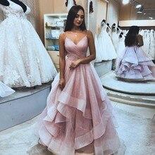 Verngo Shiny Pink Sexy Long Evening Dress 2019  V-neck Vestido De Festa Abiye Custom made Zip back