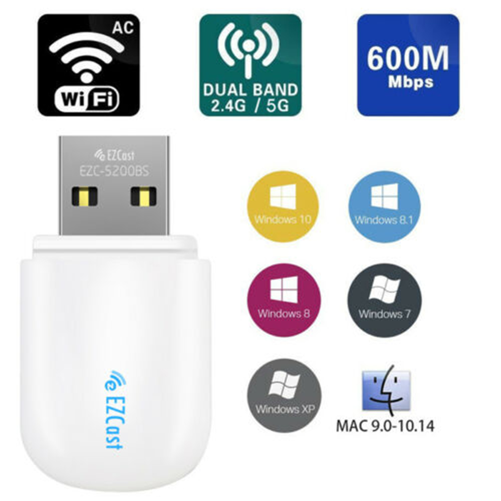 Wifi Dongle Network Card PC Wireless USB WIFI Adapter 5G/2.5Ghz Bluetooth 4.2 Dual Band AC 600Mbps Antenna USB Ethernet Lan