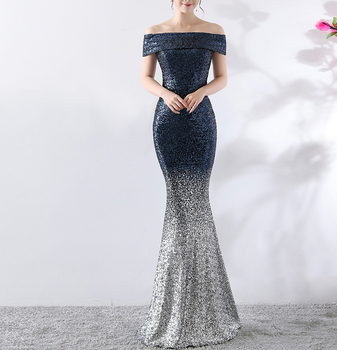 Woman Elegant Off-shoulder Sequins Sleeveless contrast color Mermaid Formal Evening Dress long train Bridal Gown for party 2019
