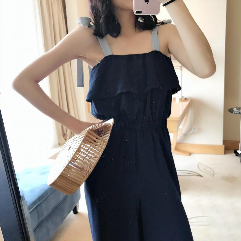 TWOTWINSTYLE Lace Up Jumpsuits Womens Off Shoulder Ruffles Tunic High Waist Maxi Wide Leg Pants Summer Fashion Holiday Clothing 16