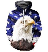 Harajuku С Капюшоном Толстовка Женщины Мужчины Орел Американский Флаг 3D Толстовка Верхняя Одежда Пуловер печати пищевой перемычка груза падения