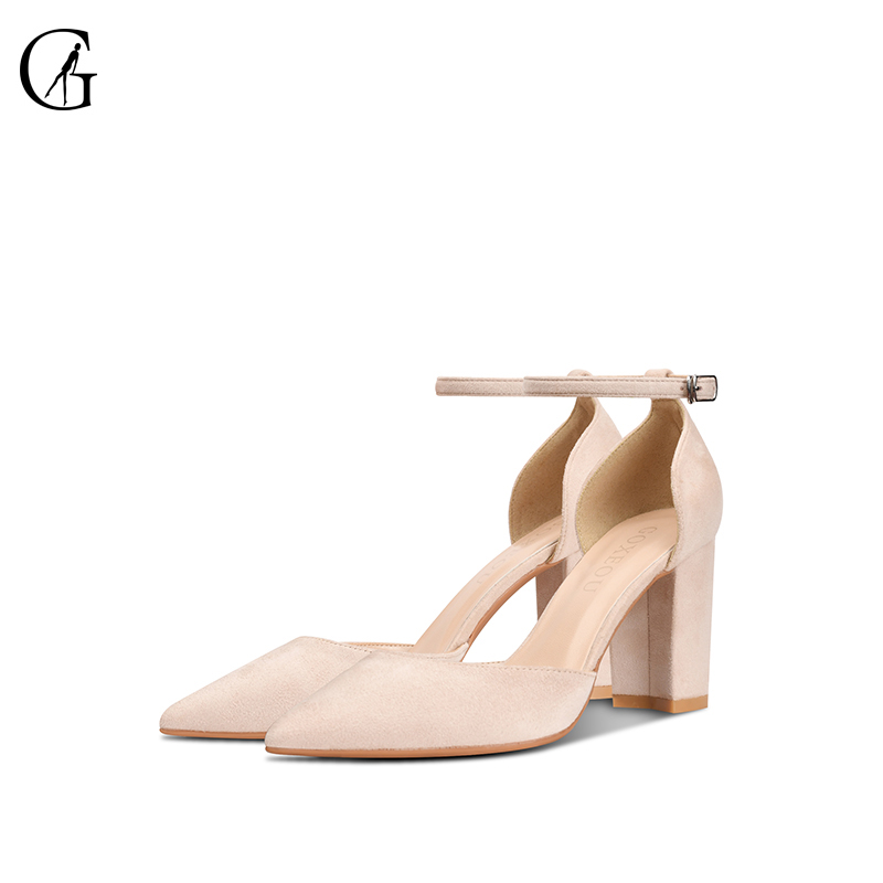 GOXEOU 2019 New Women Pumps size 32 46Square Heel High Heels Sexy Pointed Toe Diamond Tied