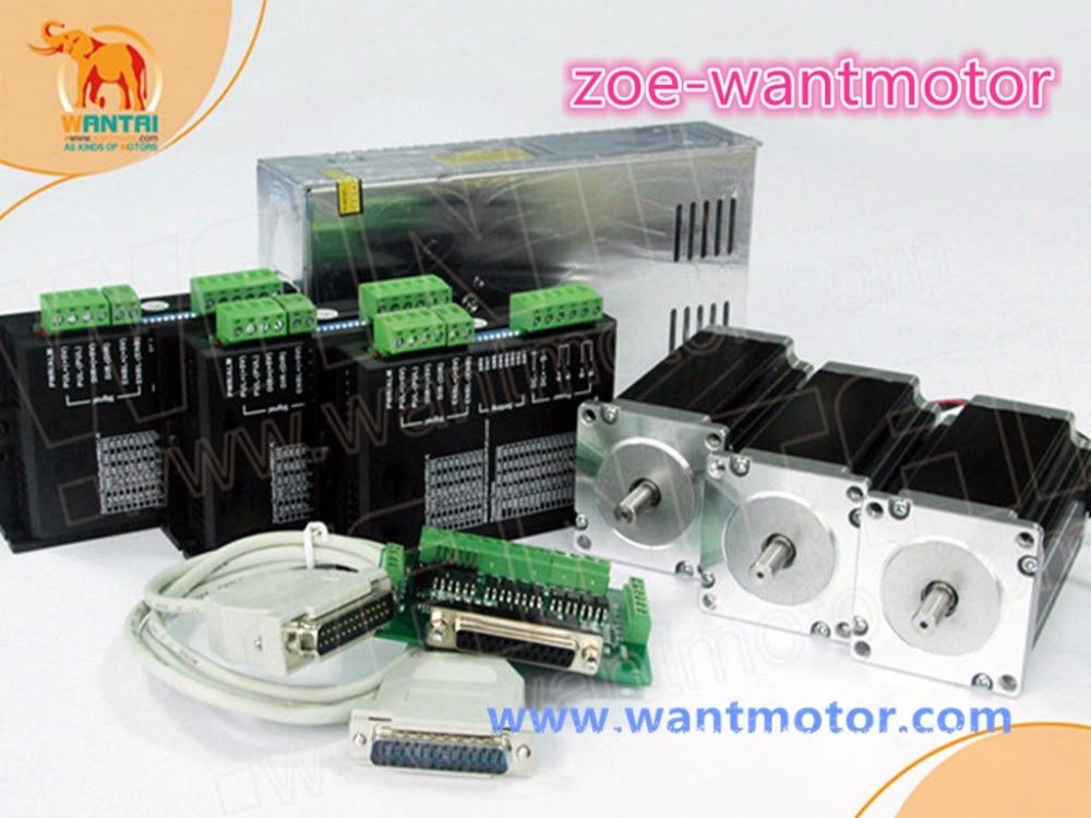EU free shipping!CNC Wantai 3 Axis cnc kit Nema 23 Stepper Motor Dual Shaft 57BYGH115-003B +Driver DQ542MA 50V 4.2A 128Micro