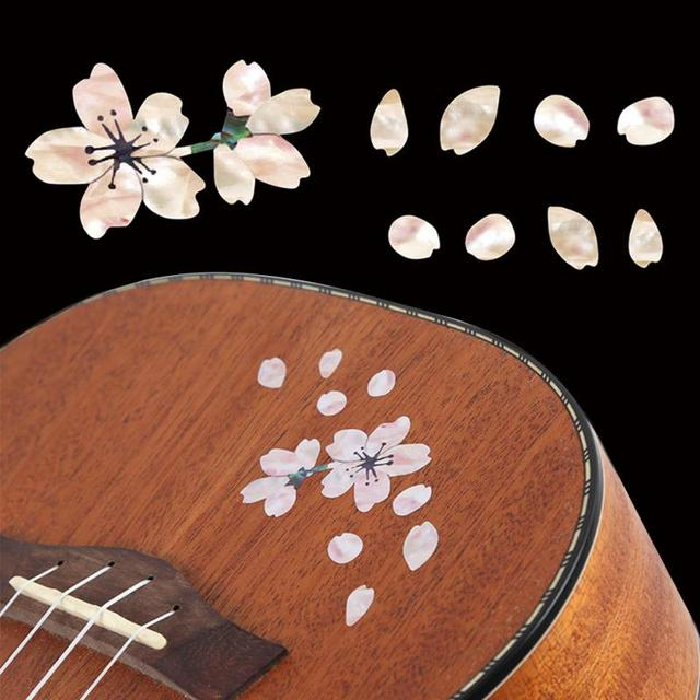 Guitar Decoration Bass Cherry Blossom Removable Ukulele Guitar Sticker Self Adhesive Guitar Accessories