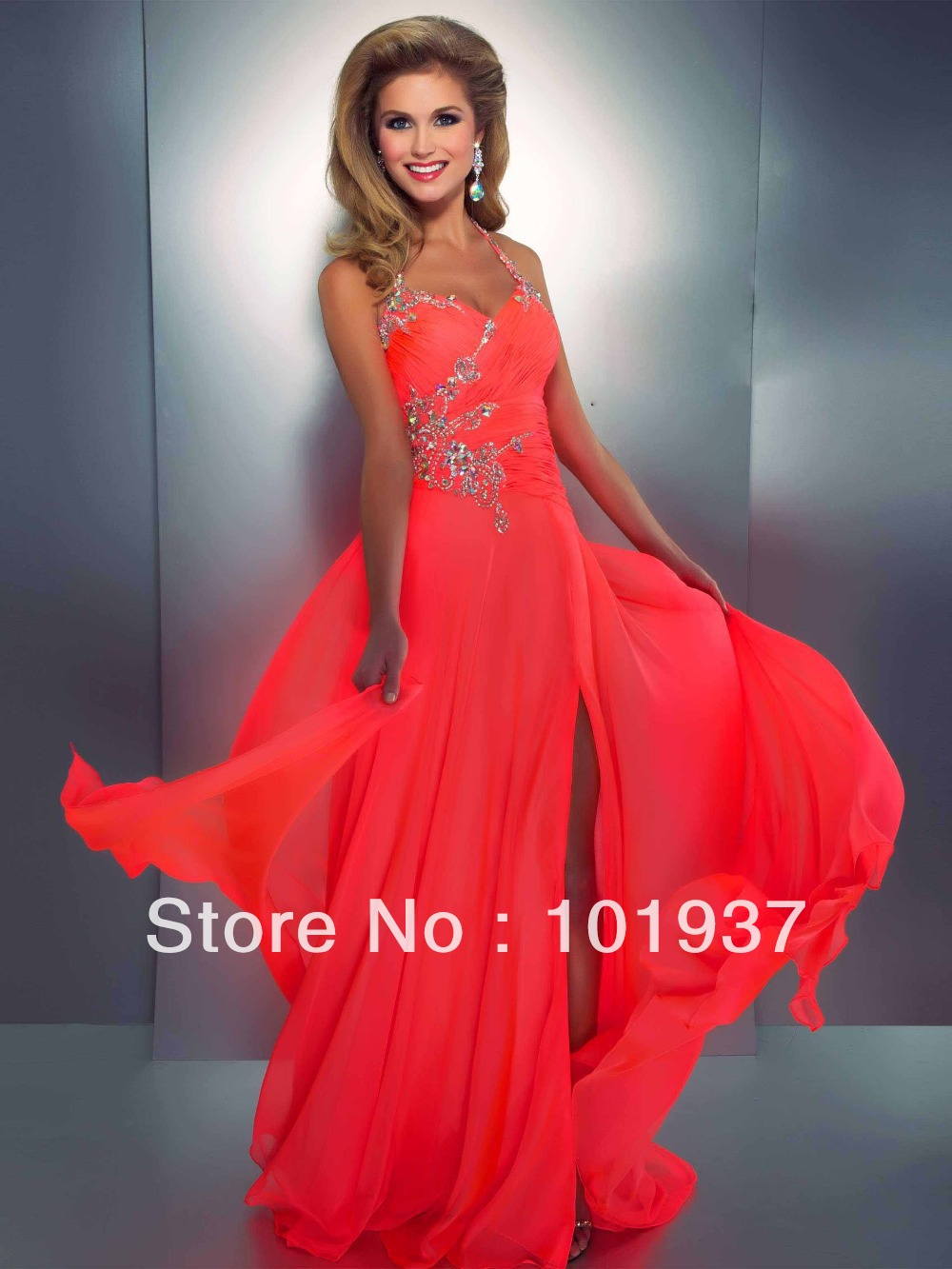 Aliexpress.com : Buy Wholesale Coral Evening Dress Halter Crystal ...