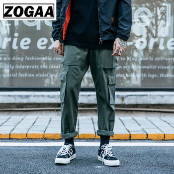 ZOGGA Spring Solid Casual Male Full Length Cargo Pants High-quality 100%cotton Mid-Waist Men Without Fade/Shrink/Pilling