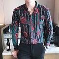 2017 de primavera y verano vintage tendencia masculina de la camisa de flores de manga larga masculina delgada de manga larga flor camisa