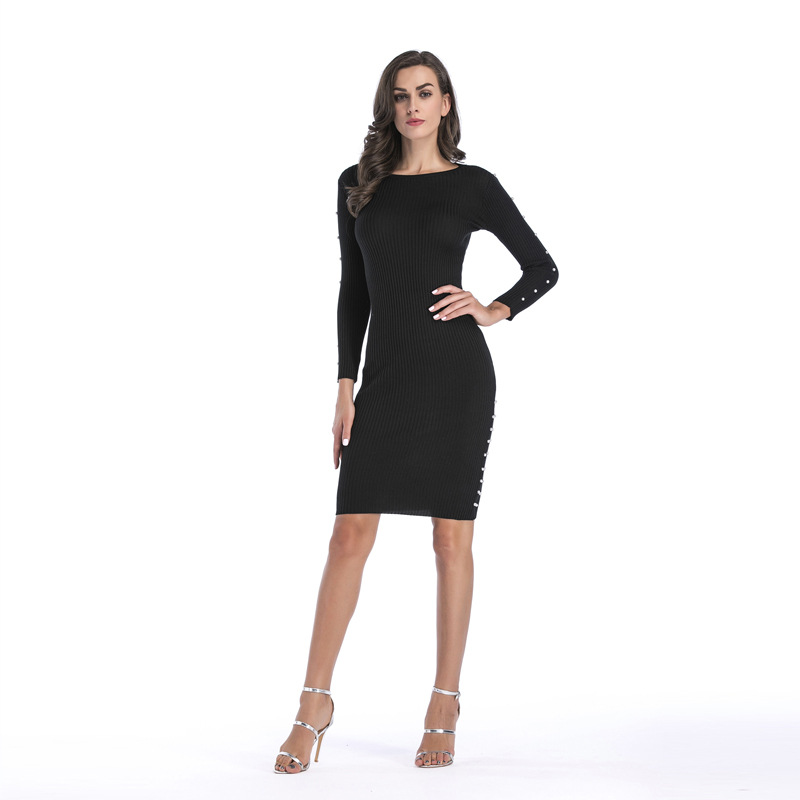 New Autumn Winter Women Long Sleeved Sexy Dress Black Fashion O Neck Female Knitted Dress In Size  M L XL new 2017 hats for women mix color cotton unisex men winter women fashion hip hop knitted warm hat female beanies cap6a03