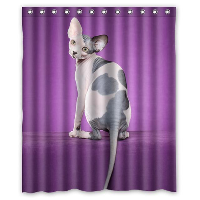 Cute Sphynx Cat Custom Made Unique Bath Waterproof Shower Curtain Bathroom Products Curtains 48x72 60x72