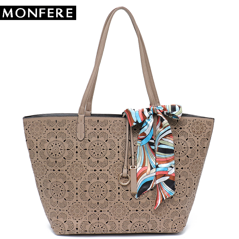 7302324402 MONFER large fashion TOTE bucket TOP HANDLE Bags for women 2017 hollow out  floral print casual shopping beach bag scarf handbag -in Top-Handle Bags  from ...