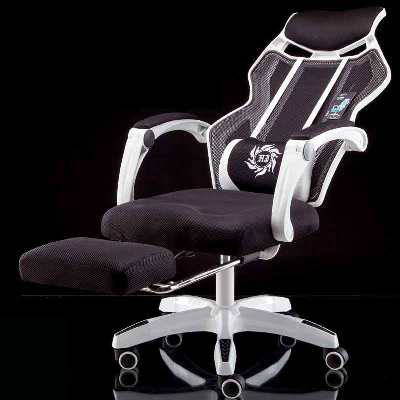 Net Cloth Breathable Computer Chair with Footrest Massage Lifted Gaming Chair Household Rotation and Reclining Office Chair