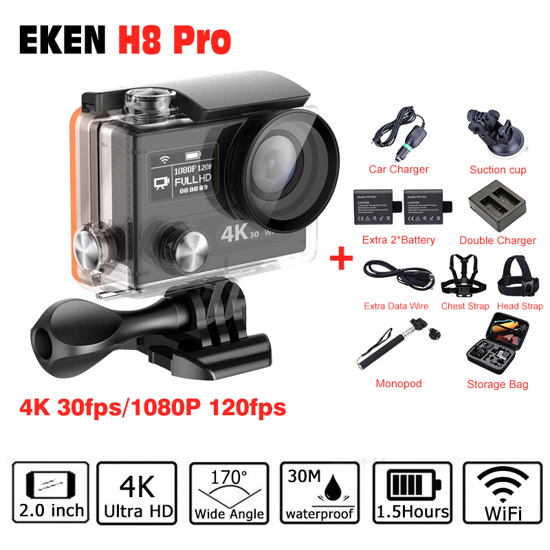 Ultra HD 4K/30fps 1080 P/120fps Ambarella A12 go Sport Action Camera EKEN H8 PRO go pro style with remote Dual Screen action cam
